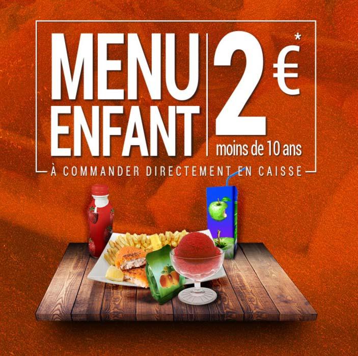Menu à 2 euros pour les enfant de moins de 10 ans