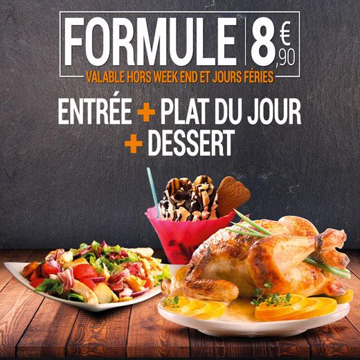 Formule 8,90 € - Entrée avec plat du jour et dessert