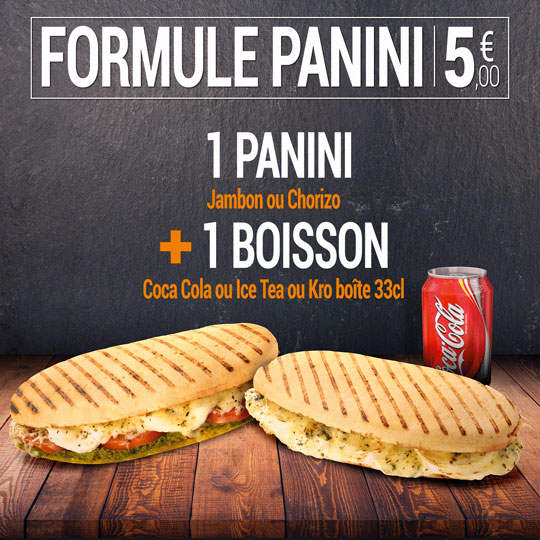 Formule panini - Chorizo ou jambon avec une boisson 33cl pour 5 €