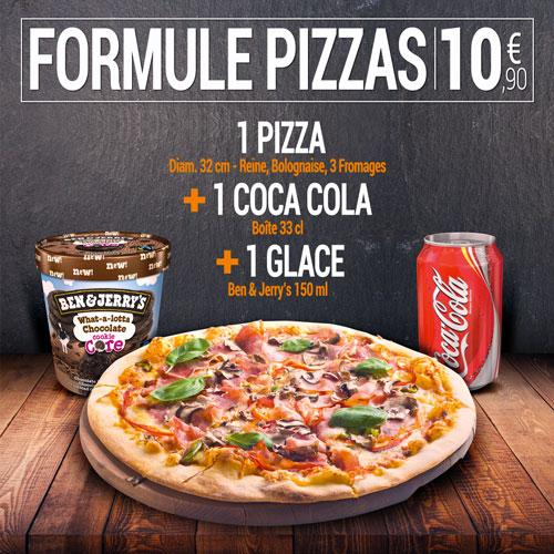 Formule pizzas - 10,9€ pour une pizza avec coca et glace ben & jerry's