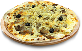 Pizza tarn cafet à 8,80 € - magret et champignons